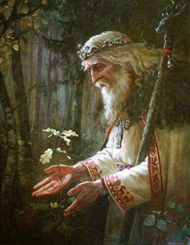 FRAMED Pagan Elder Canvas Wall Art Decoration | Pagan Art, Pagan Canvas, Greenman Canvas, Forestkeeper, Oak Canvas, Oak Art | High Quality Printing, Internal Genuine Wooden Frame, 3D Effect