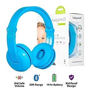 Wireless Bluetooth Headphones for Kids – BuddyPhones PLAY | Kids Safe Volume Limited to 75, 85 or 94 dB | Foldable with 14-Hour Battery Life | Optional Cable for Audio Sharing | Blue