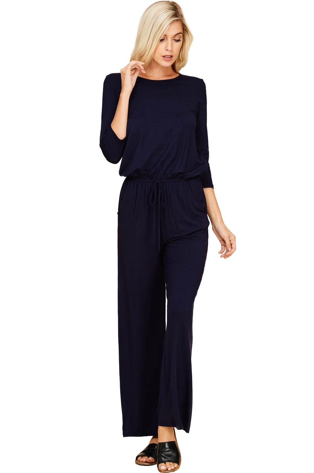 bc338ebf426 Annabelle Women s Solid Knit 3 4 Sleeve Back Keyhole Full Length Pocket  Jumpsuits S-3XL   Jumpsuits