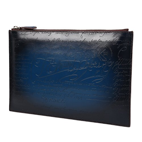 Large Calf Leather (TERSE Men's Leather Wallet Clutch Large Capacity Envelope Purse Wrist Bag With Card Cash Holder - Italian Calfskin)