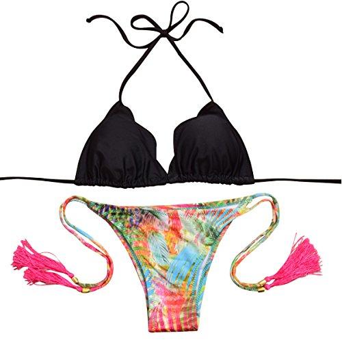 Shangrui Mujer Sujetador acolchado de Impresión Floral Vendaje Bikini Traje de Baño H7