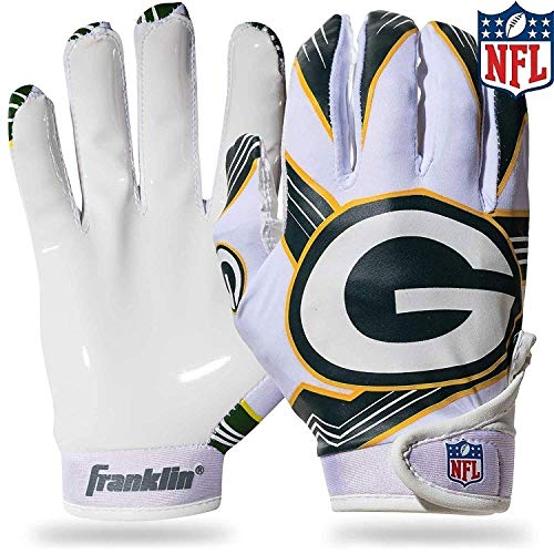 Franklin Sports Green Bay Packers Youth NFL Football Receiver Gloves – Receiver Gloves for Kids – NFL Team Logos and Silicone Palm – Youth S/XS Pair