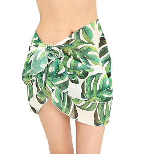 Sythyee Women's Sarong Wrap Beach Swimwear Chiffon Cover Up Short Pareo Bikini Swimsuit Wrap Skirt Bathing Suit Ruffle Printed Big Green Leaves