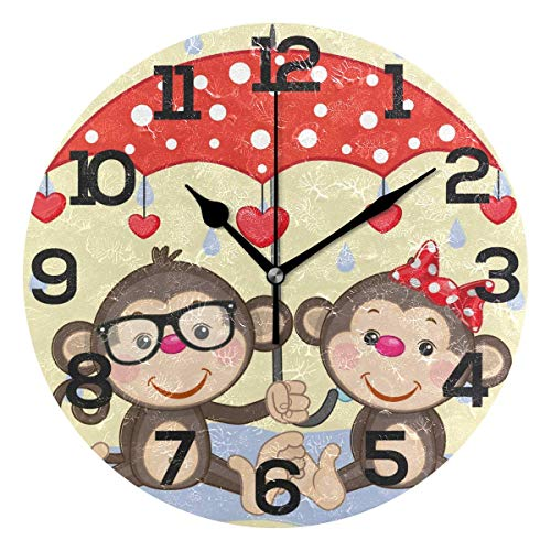 Dozili The Valentine's Day Cartoon Monkey with Umbrella Round Wall Clock Arabic Numerals Design Non Ticking Wall Clock Large for Bedrooms,Living -