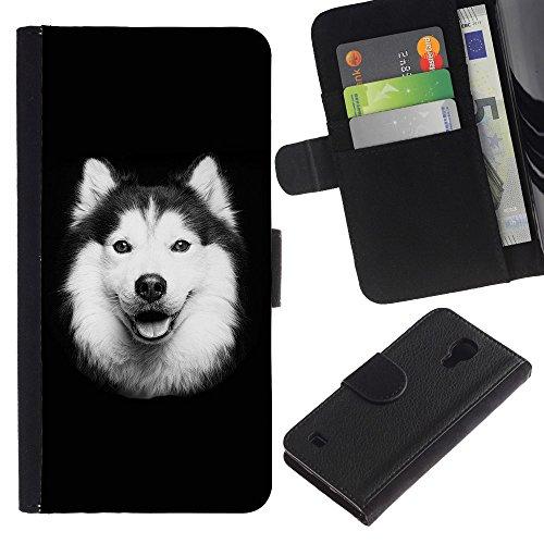 EuroCase - Samsung Galaxy S4 IV I9500 - Alaskan malamute border collie dog - Cuero PU Delgado caso cubierta Shell Armor Funda Case Cover