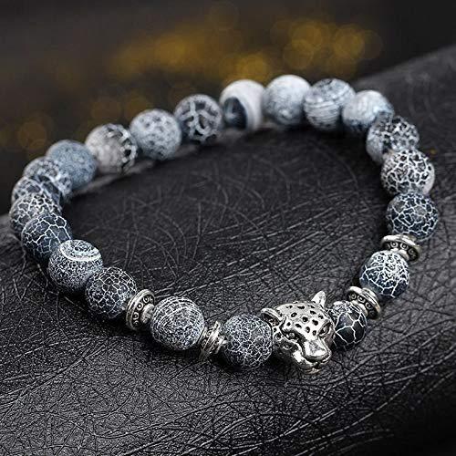 Hemau 2Pcs Unisex Natural Gemstone Beads Lava Rock Stone Bracelet Lion/Crown Head Bead | Model BRCLT - 1633 |