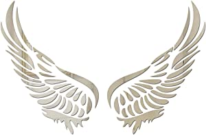 Angel Wing Wall Sticker Mirror Acrylic Decal DIY Artist Home Background Decoration Sticker Feather Self-Adhesive Bedroom Living Room Children's Room (Silver, Medium)