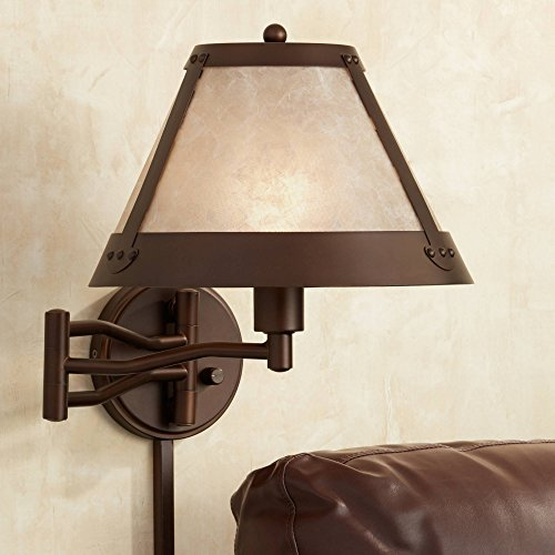 - Samuel Blonde Mica Mission Swing Arm Wall Lamp - Franklin Iron Works