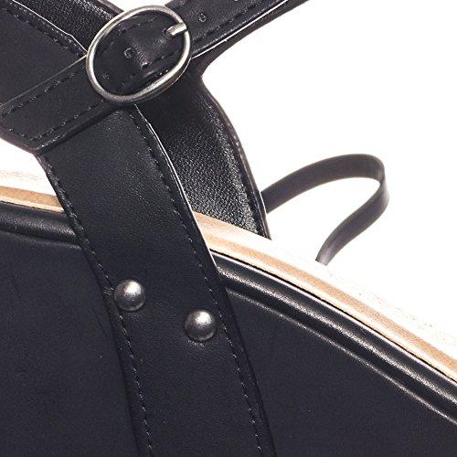 Bambu Punkrock Konstläder Plattform Kil Sandal W Metall Stud Detalj Svart