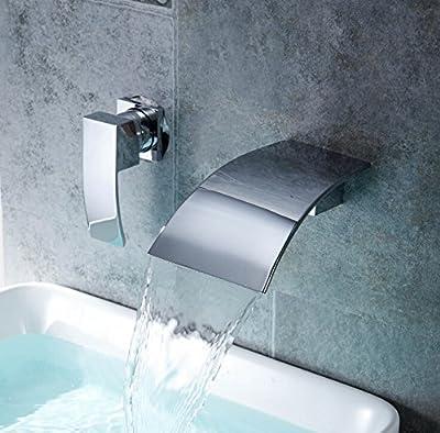 Aquafaucet Wall Mount Waterfall Curve Spout Bathroom Faucet Chrome Single Handle Lavatory Sink Mixer Tap