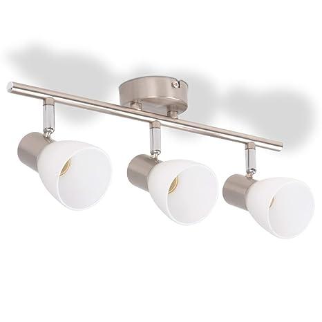 vidaXL Lámpara de Techo con 3 Focos E14 Plateada Metal ...