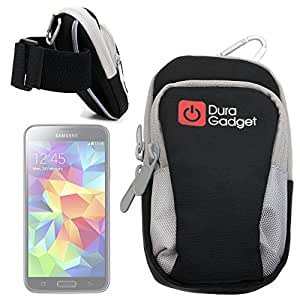 DURAGADGET Exclusive, Nylon Sports Armband Case in Black - Running, Cycling & Gym Smartphone Case/Holder for New Samsung Galaxy S3, S3 Mini, S4, S4 Mini, S5, S5 Plus