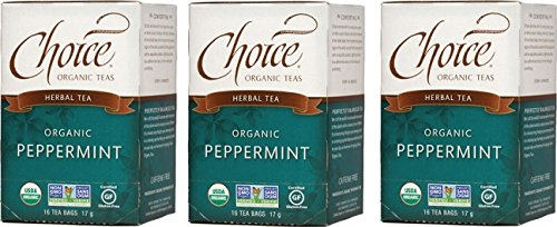 - Choice Organic Teas Herbal Tea, 3 Boxes of 16 (48 Tea Bags), Peppermint, Caffeine Free