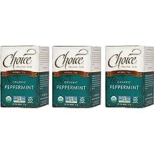 Choice Organic Teas Caffeine Free Herbal Tea, Peppermint, 16 Count, Pack of 3
