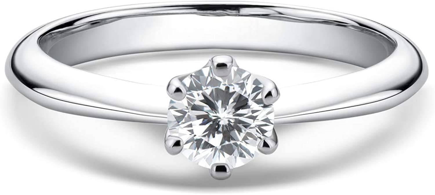 WOAINI Moissanite Engagement Ring for Women, 0.5-2 Carat Round Cut Sterling Silver Wedding Band Brilliant Solitaire Infinty Ring for Promise, Anniversary, Wife