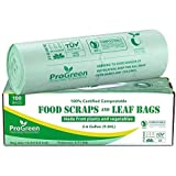 ProGreen 100% Compostable Bags 2.6 Gallon, Extra Thick 0.71 Mil, 100 Count, Small Kitchen Trash Bags, Food Scraps Yard Waste