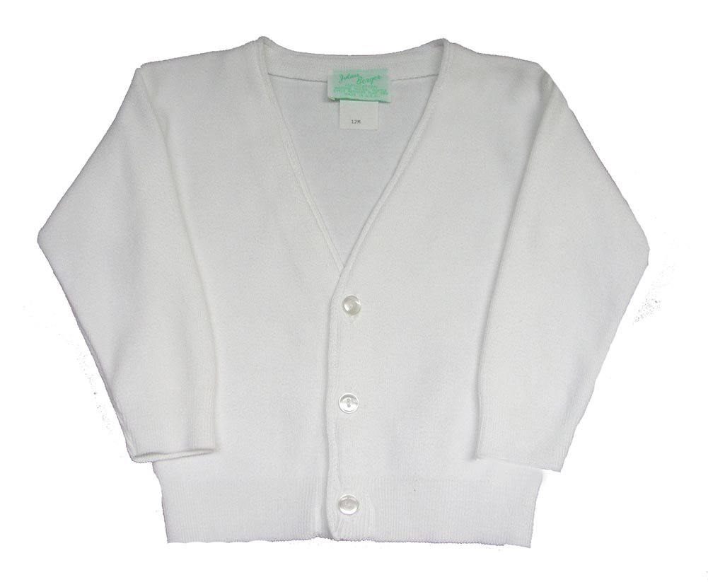 Boys Solid White Classic Cardigan Sweater by Julius Berger (4)