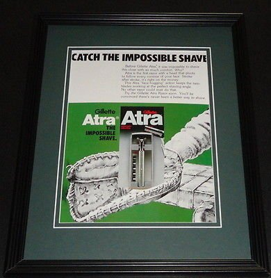 1977 Gillette Atra Razors 11x14 Framed ORIGINAL Advertisement