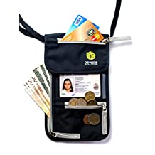 Passport Holder by Organizer Solution, Travel Wallet with Rfid, Neck Pouch (Black)
