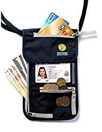 Passport Holder by Organizer Solution, Travel Wallet with Rfid, Neck Pouch (Black)
