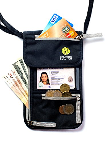 Passport Holder by Organizer Solution, Travel Wallet with Rfid, Neck - Proof Set Coins Envelopes No