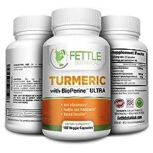 Tumeric Curcumin with Bioperine 180 Caps 1300mg Daily Dose Black Pepper Extract Piperine Tumerics Turmeric Supplements Natural Antioxidant Veggie Capsules Curcuma Longa Supplement Fettle Botanical