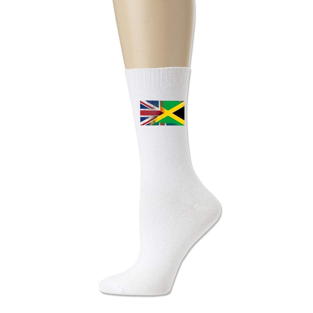 Men Women British Jamaican Half Jamaica Half UK Flag Running Cotton Crew Socks Athletic Sock