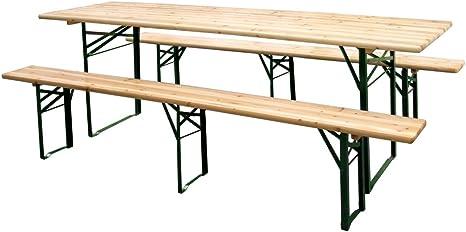 Legno e Acciaio Set Birreria Tavolo e 2 Panche