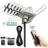 TV Antenna - Outdoor Digital HDTV Antenna 150 Mile Motorized 360 Degree Rotation, OTA Amplified