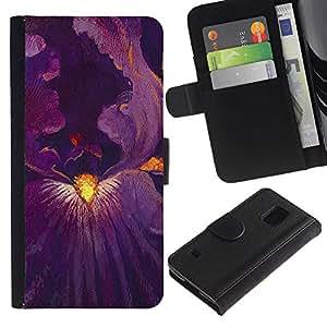 Paccase / Billetera de Cuero Caso del tirón Titular de la tarjeta Carcasa Funda para - Blossom Purple Inside Painting - Samsung Galaxy S5 V SM-G900