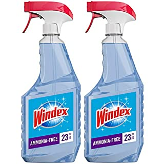 Windex Ammonia-Free Glass and Window Cleaner Spray Bottle, Crystal Rain Scent, 23 fl oz - Pack of 2