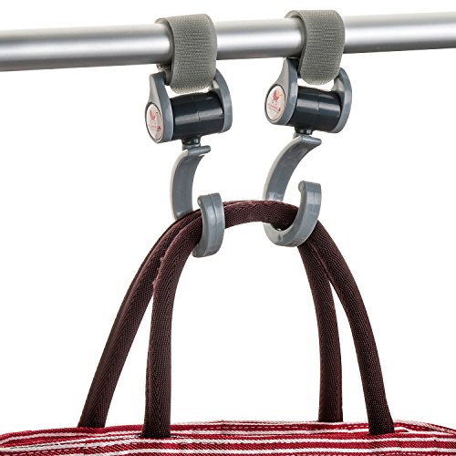 MumnBub Stroller Hook - 2 Pack (Grey) Multi-Purpose Heavy Duty Buggy Clips for Mommy - Universal Fit Perfect Pram Accessories for Hanging Diaper bag, Shopping bag, Groceries -Includes 2 Stroller Pegs by MumnBub (Image #4)