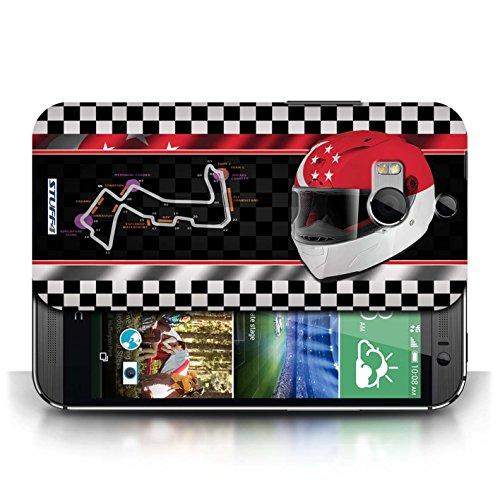 Etui / Coque pour HTC One/1 M8 / Singapour conception / Collection de F1 Piste Drapeau