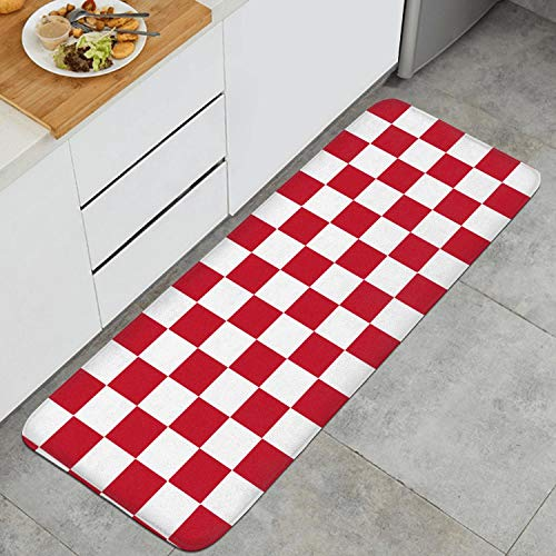 Red and White Checkered Anti-Fatigue Kitchen Floor Mat Dry Fast Rug Doormats Outdoor Indoor Printted Floormat