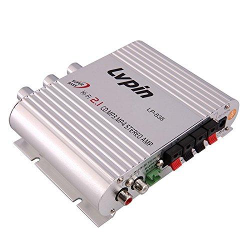 Amazon.com: Ocamo Mini Car Amplifier, Silver Portable 2.1 2 Channels ...