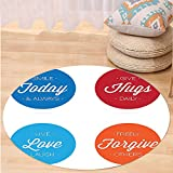 Niasjnfu Chen Custom carpetQuotes Decor Collection Collection of Positive Quotes on Badges Encouraging Live Love Laugh Smile Image Bedroom Living Room Dorm Blue Red Orange White