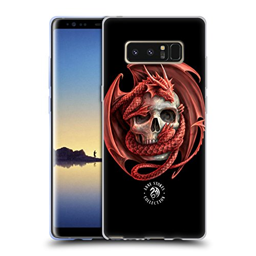 Official Anne Stokes Dragon and Skull Fire Tribal Soft Gel Case for Samsung Galaxy Note8 / Note 8