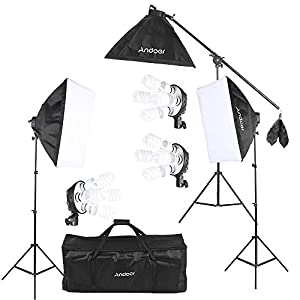 Andoer Softbox Kit de Iluminación para Photo Studio Video, (12)Bombilla 45W (Equivalente a 2400W), (3)Portalámparas 4-en… 51 7m2lrD7L