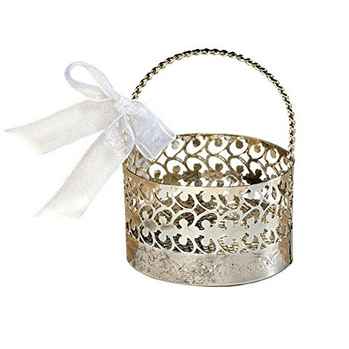 Filigree Basket (Elegant Wedding Party Silver Favour Basket, 3