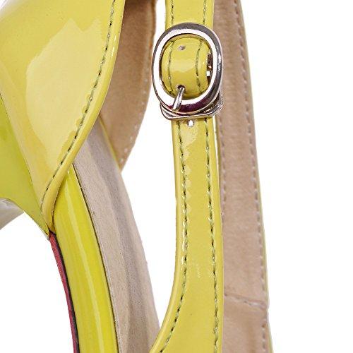 Toe Sandals Heel Dress Yellow Womens Stiletto Peep Lucksender Sexy Party High 6nxtqP7w7z