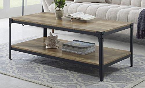 WE Furniture Angle Iron Wood Coffee Table in Rustic Oak - 46