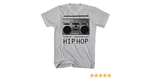 82817272419c2 Amazon.com: Graphic Villain Support Underground Hip Hop Boombox Shirt.  Heather. XXX-Large: Clothing