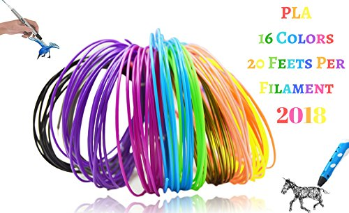 3D Pen Filament and 3D Printer Filament Refills(16 Colors, 20 Feet Each) with Free Stencil Outline E-Book, Universal 1.75 MM, PLA Filament, Total 320 Feet DIY Material