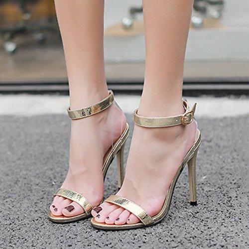 ZHZNVX Zapatos de mujer moda Primavera Verano botas de piel sintética comodidad novedad sandalias Stiletto talón para bodas de oro y plata casual Gold