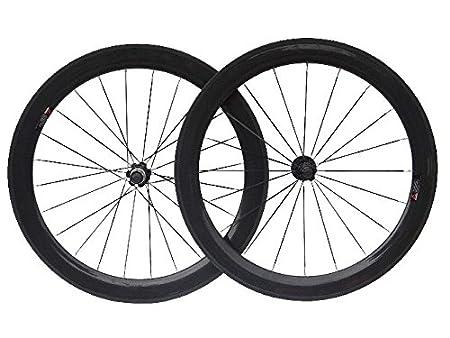 3 K de carbono bicicleta de carretera Clincher wheelset 60 mm para rueda de bicicleta borde: Amazon.es: Deportes y aire libre