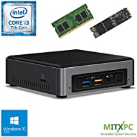 Intel BOXNUC7i3BNK Core i3-7100U NUC Mini PC w/ 16GB DDR4, 512GB NVMe M.2 SSD, Windows 10 Home - Configured and Assembled by MITXPC