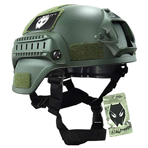 ATAIRSOFT Tactical Airsoft Paintball MICH 2000 Helmet with Side Rail & NVG Mount OD