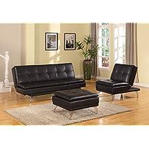 HomeRoots Furniture Frasier Ottoman, Black