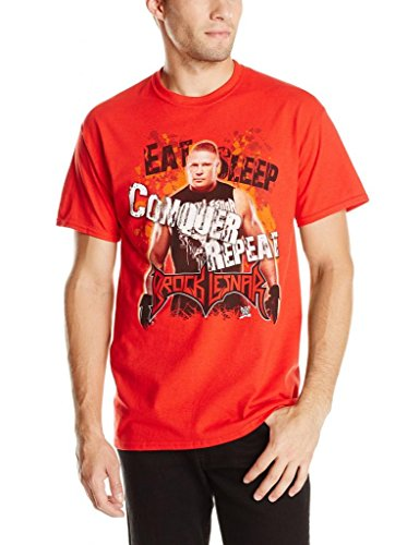WWE Men's Brock Lesnar Eat Sleep Conquer Repeat T-Shirt, Red, XX-Large