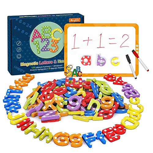 Magnetic Alphabet Letters and Numbers for Toddlers - 138 pcs Educational Uppercase and Lowercase Fridge Foam Magnets Letters with Magnetic Boards and Storage Bag for Kids Classroom to Learn Spelling